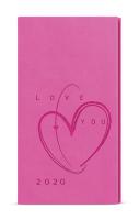 Týdenní diář - Jakub - vivella s ražbou - kapesní - růžová - Srdce