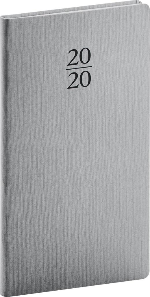 Kapesní diář Capys 2020, stříbrný 2019
