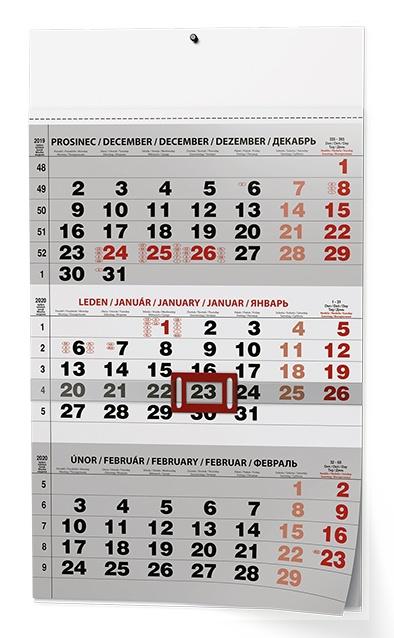 Nástěnný kalendář- tříměsíční- modrý