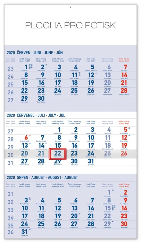 Nástěnný kalendář 3měsíční standard modrý - s českými jmény 2020 2019