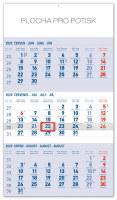 Nástěnný kalendář 3měsíční standard modrý - s českými jmény 2020
