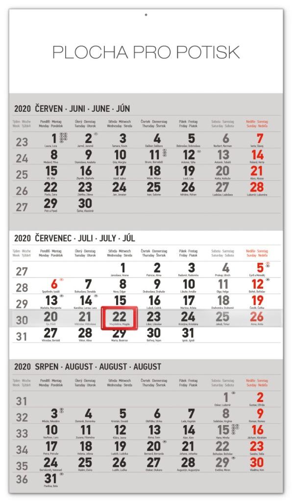 Nástěnný kalendář- tříměsíční- Standard- šedý
