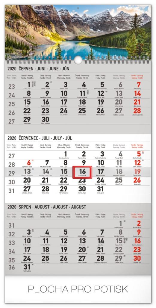 Nástěnný kalendář- tříměsíční- Krajina- šedý 2019