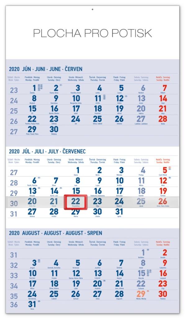 Nástěnný kalendář 3mesačný štandard modrý - so slovenskými menami SK 2020 2019
