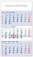 Nástěnný kalendář 3mesačný štandard modrý - so slovenskými menami SK 2020