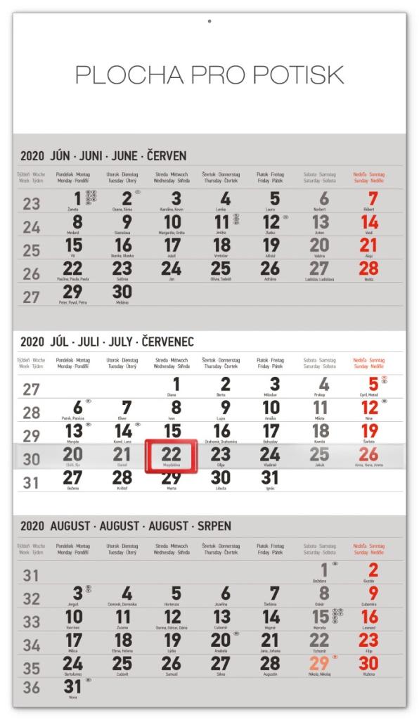 Nástěnný kalendář 3mesačný štandard šedý - so slovenskými menami SK 2020 2019