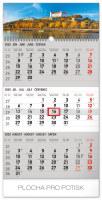 Nástěnný kalendář- tříměsíční- Mesto- šedý