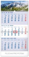 Nástěnný kalendář- tříměsíční- Tatry- šedý
