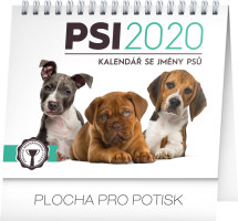 Stolní kalendář Psi - se jmény psů 2020, 16,5 × 13 cm